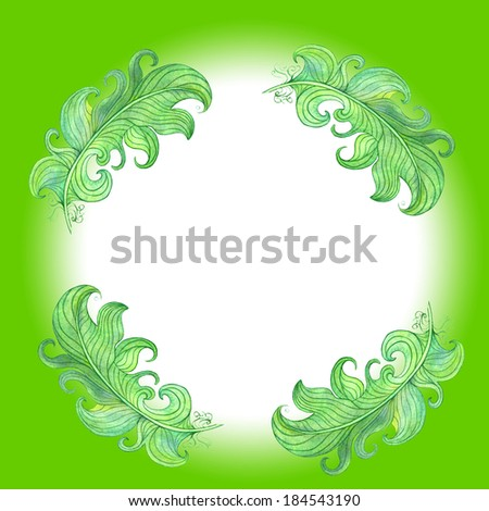 Green decoration in simple and cute ornament. Watercolor drawing. Abstract vintage background with floral retro element with space for text.