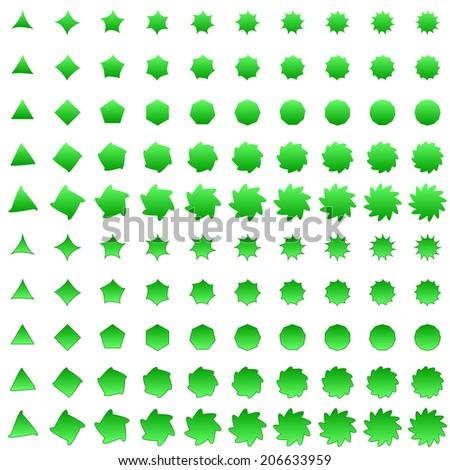 Green deformed polygon shape collection - jpg version