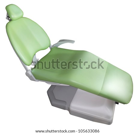 Green dentist chair on white background