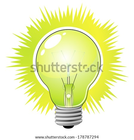Green detailed light bulb as concept of ecological idea - stock photo