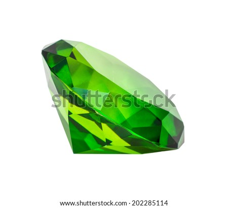 green diamond isolated on white