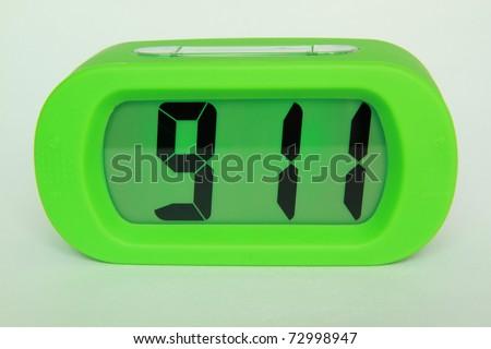 Green digital electronic clock