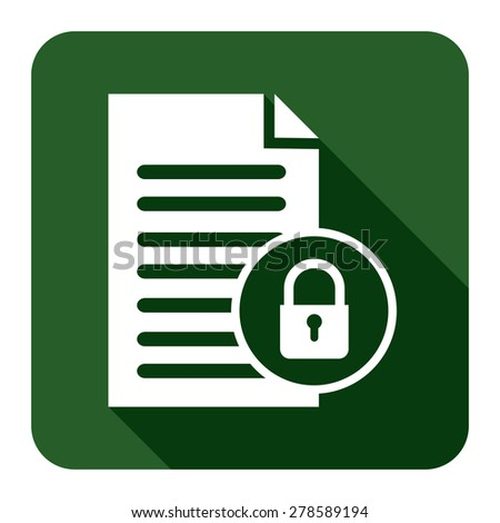 Green Document With Master Key Lock Flat Long Shadow Style Icon, Label, Sticker, Sign or Banner Isolated on White Background