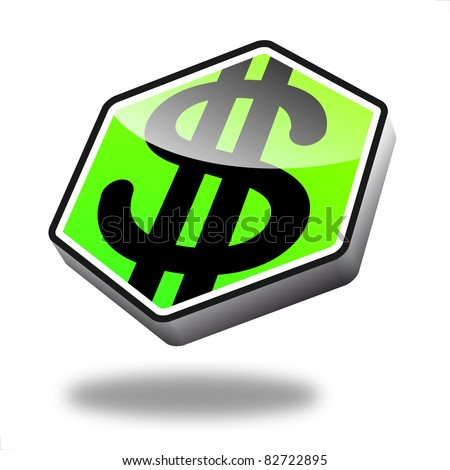 green dollar button with perspective, symbol for finance and money