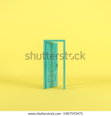 Green door Open entrance in yellow background room. minimal concept idea creative. 3D render