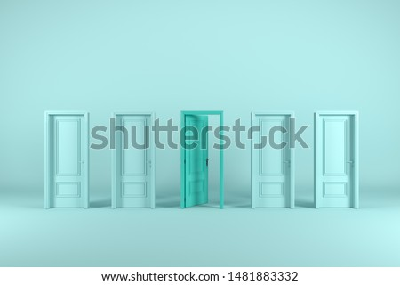 Green door Open middle room with many close doors. minimal concept idea. 3D render.
