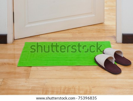 Green doormat help you clean your feet before come in home