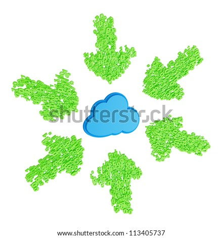 Green download arrows made from numbers around blue cloud on a white background - stock photo