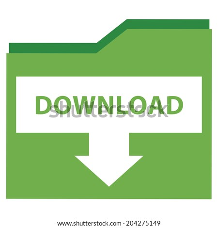Green Download Document Icon, Sign or Button Isolated on White Background