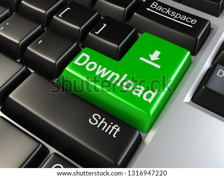 Green download keyboard button close-up. 3D rendering illustration