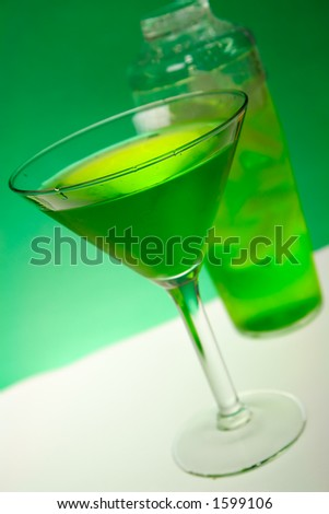 Green Dragon cocktail in a Martini Glass