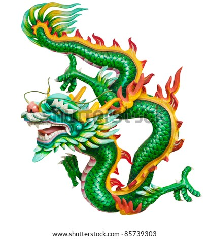 Green dragon isolated on white background with clipping path