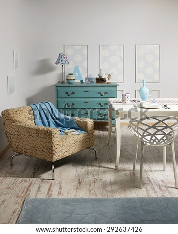 green drawers buffet ,white table, modern seat as vintage room #292637426
