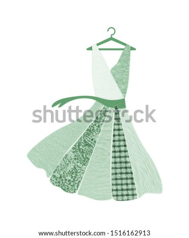 Green dress on hanger made with recycled fabric textures. Sustainable fashion and conscious consumerism concept.