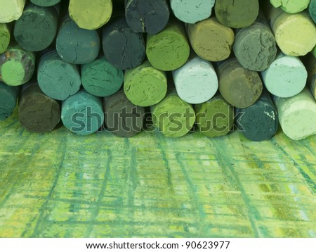 green dried pastels