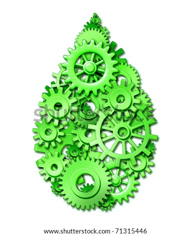 green drop conservation recycling industry business symbol gears cogs teamwork networking Alternative Energy responsible power