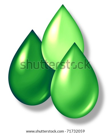 Green drops symbol representing environmental and ecological renewable energy industry.