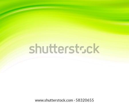 Green dynamic wave over white background. Abstract illustration