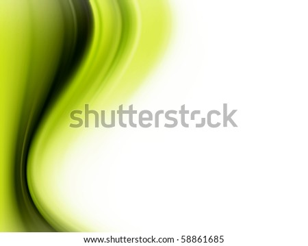 Green dynamic waves over white background. Illustration