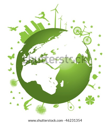Green Earth concept vector illustration on white