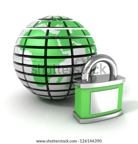 green earth globe sphere and padlock - stock photo