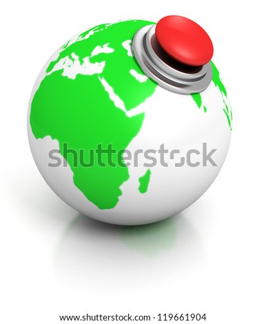 green earth globe with red alarm button