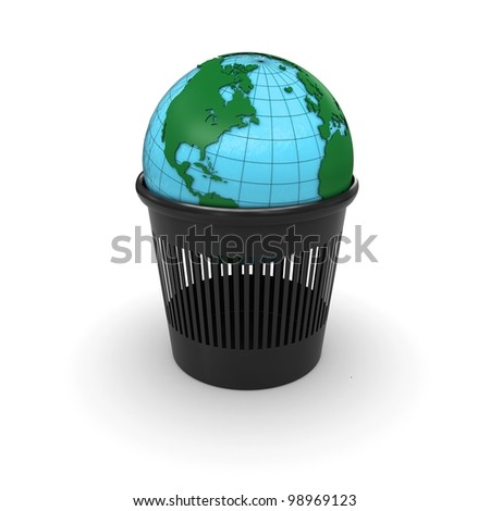 Green Earth in the trash. 3d rendering