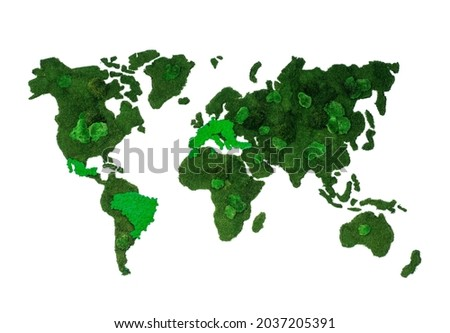 Green Earth made from stabilized lichens  green moss. Concept of a green life, stop pollution. Make the earth green. Let`s plant trees, let's plant life Stock fotó ©