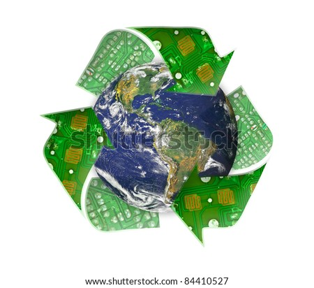 Green earth recycle, electronic waste concept