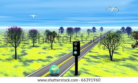 Green earth running on a road and passing a green earth traffic light to cross a beautiful landscape with many trees and birds