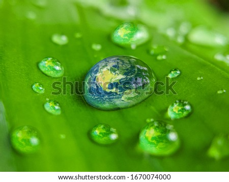 Green Earth Water drop.Earth day concept- World or earth on fresh water drop concept of earth day, environment day and water day.
