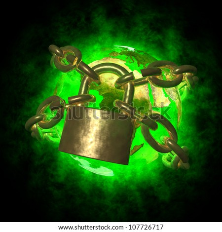 Green Earth with aura breaking golden chain - transformation of world