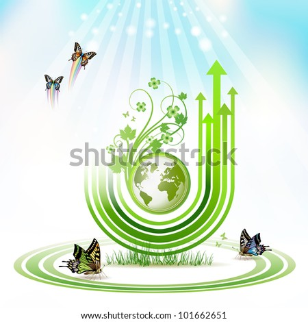 Green Earth with green arrow stripes and butterflies