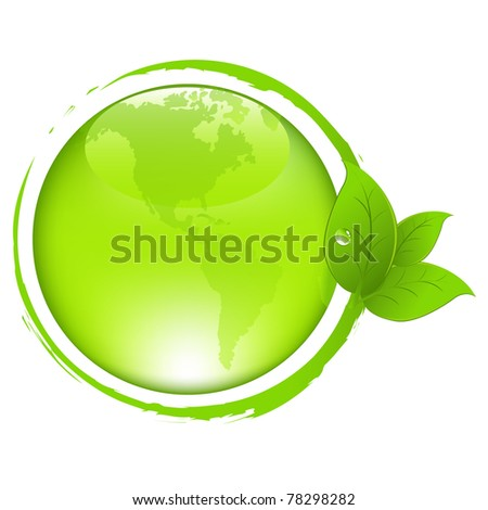 Green Earth With Leaves, Isolated On White Background