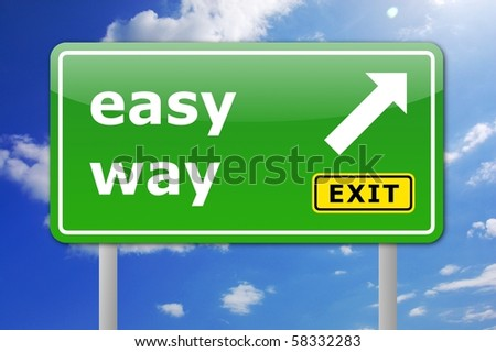 green easy way road sign with arrow and exit text