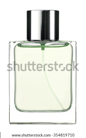 Green Eau de cologne / studio photography of the modern perfume bottle - isolated on white background #354819710