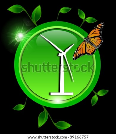Green eco Button with a wind turbine with leaves and a butterfly