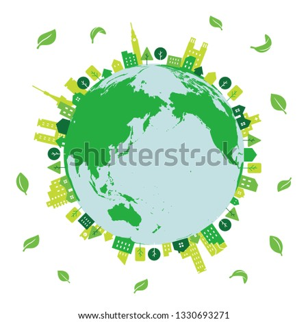 green eco city on the earth with young leaves dancing around