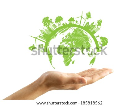 Green Eco Earth, Isolated On White Background