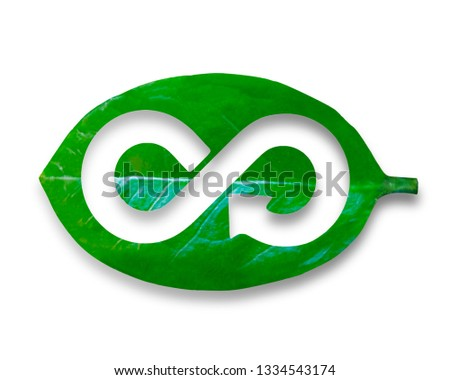 Green Eco-friendly and circular economy concept, leaf with hole of arrow infinity recycling shape, isolated on white background.