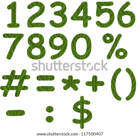 Green eco numbers and signs