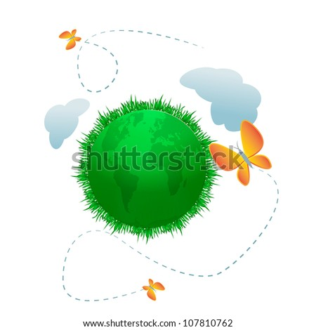 Green eco planet/Green planet with grass, clouds and butterflies