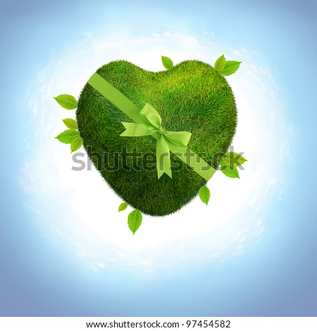 green ecological earth in a heart shape.Love concept.global heart