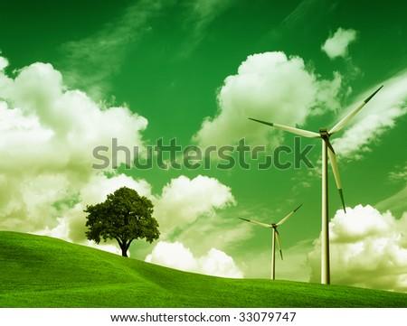 Green Ecology, Wind turbines - stock photo