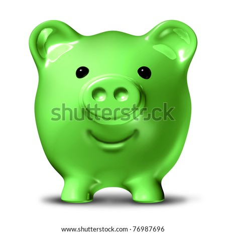 Green economy representing the concept of saving money by conservation and recycling waste and pollution resulting in energy costs reduction and fuel savings symbolized by a happy piggy bank.