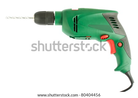 Green electric drill isolated on white background