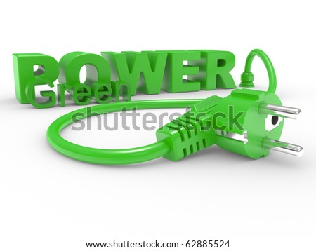 Green electric plug and inscription POWER on a white background