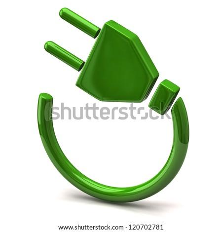 Green electric plug icon