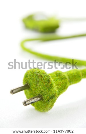 green electric plug with eco car icon, save energy concept