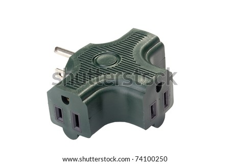 Green electrical adapter isolated on a white background.